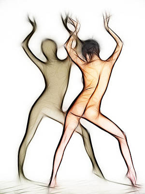 Photograph - 6054 Fractal Nude Dancing With Shadow by Chris Maher