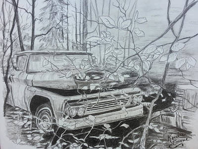 Chevrolet Truck Drawing - 61 Chevy Treaure by Kendra DeBerry
