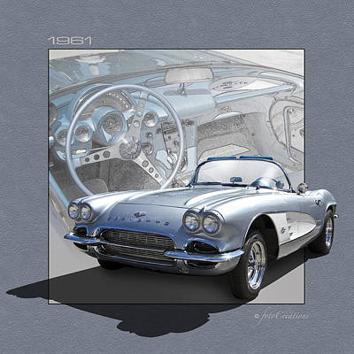 61 Corvette In Silver Blue Art Print