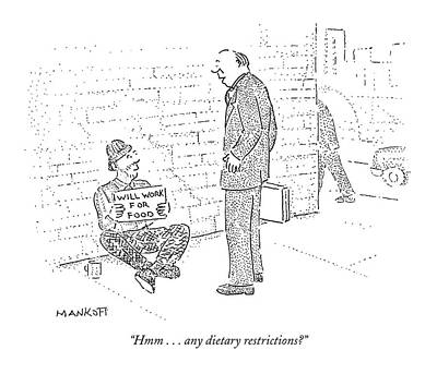 Hmm . . . Any Dietary Restrictions? Art Print by Robert Mankoff