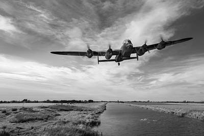 Digital Art - 617 Squadron Lancaster Training Sortie Black And White Version by Gary Eason