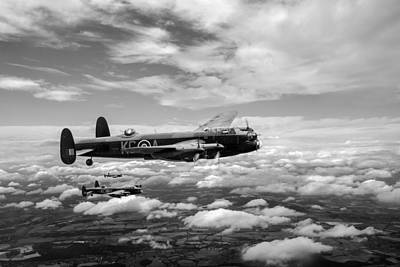 Photograph - 617 Squadron Tallboy Lancasters Black And White Version by Gary Eason