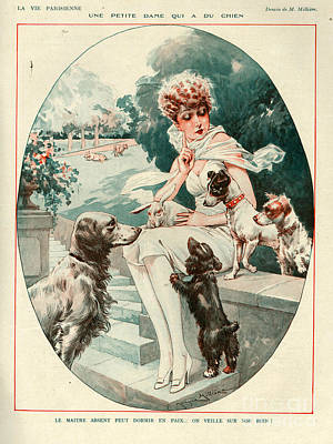 Puppy Drawing - 1920s France La Vie Parisienne Magazine by The Advertising Archives