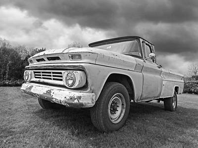 Vintage Chevrolet Truck Photograph - '62 Chevy Fleetside In Black And White by Gill Billington