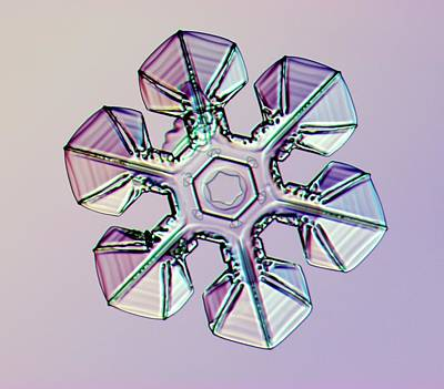 Crystalline Photograph - Snowflake by Kenneth Libbrecht