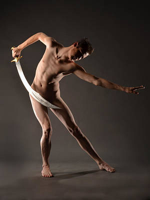 Photograph - 6203 Sweet Male Nude With Curved Sword  by Chris Maher