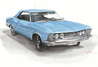 Buick Drawing - 63 Buick Riviera Watercolor Portrait by Mike Theuer