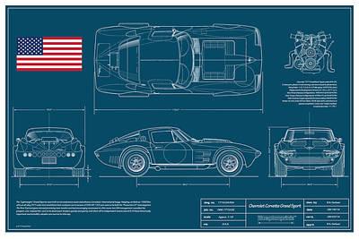 '63 Corvette Grand Sport Blueplanprint Art Print