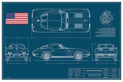 '63 Corvette Sting Ray Blueplanprint Art Print