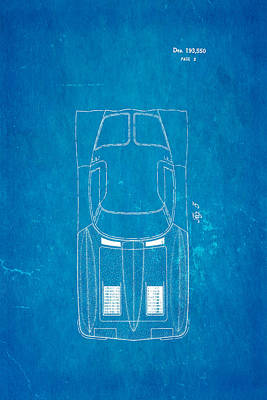 Sting Photograph - '63 Corvette Stingray 2 Patent Art 1962 Blueprint by Ian Monk