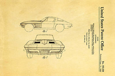 Sting Photograph - '63 Corvette Stingray Patent Art 1962 by Ian Monk
