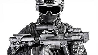 Photograph - Spec Ops Police Officer Swat In Black by Oleg Zabielin