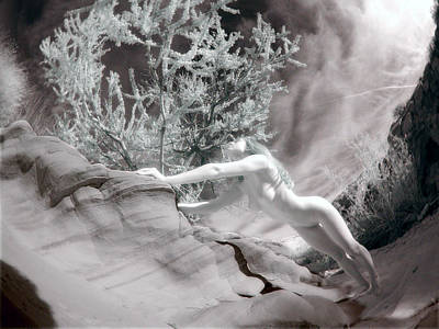 Photograph - 6336 Infrared Nude Woman In Desert Wash  by Chris Maher