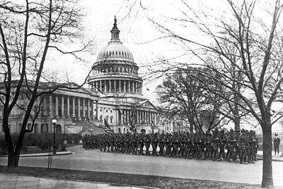 Bare Trees Photograph - 63rd Infantry Ready In Dc by Underwood Archives