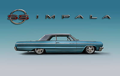 Classic Hotrod Digital Art - '64 Impala Ss by Douglas Pittman