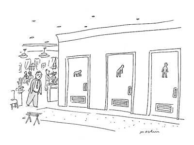 Ape Drawing - Bathroom Evolution by Michael Maslin
