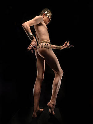 Photograph - 6488 Slim Tall Male Nude Dancer With Jewery From Below   by Chris Maher