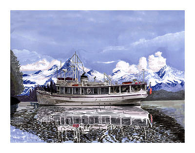 Classic Marine Art Painting -  Alaska Yachting by Jack Pumphrey
