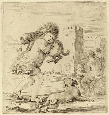 Puppy Drawing - Stefano Della Bella Italian, 1610 - 1664 by Quint Lox