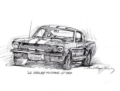 Classic Mustang Car Drawing - 66 Shelby 350 Gt by David Lloyd Glover