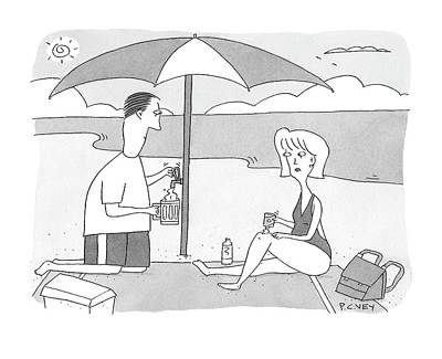 Beer Drawing - New Yorker July 28th, 2008 by Peter C. Vey