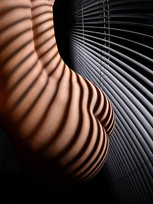 Photograph - 6606 Striped Nude With Blinds  by Chris Maher
