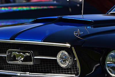 Photograph - 67 Blue Mustang Hood Scoop by Dean Ferreira