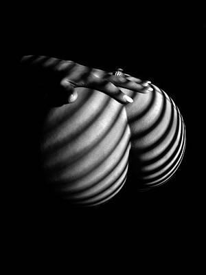 6747 Zebra Woman Nude Stripe Series   Art Print by Chris Maher