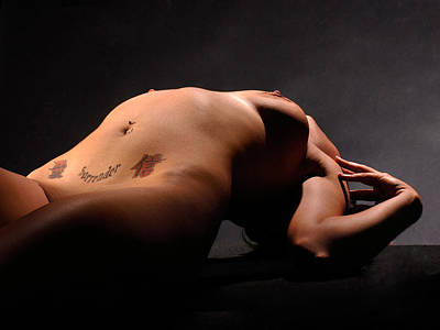 Photograph - 6769 Nude With Surrender Tattoo Above Her Pubis by Chris Maher