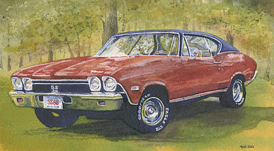 Muscle Car Painting - 68 Chevelle by Heidi Gallo