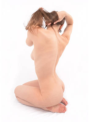 Photograph - 6848 Nude Figure Sitting Beautiful Back And Shoulders  by Chris Maher
