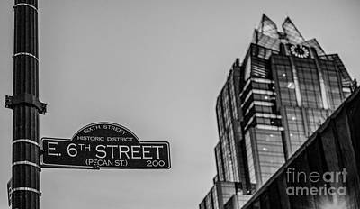 Street Signs Photograph - 6th Street In Black And White by Tod and Cynthia Grubbs