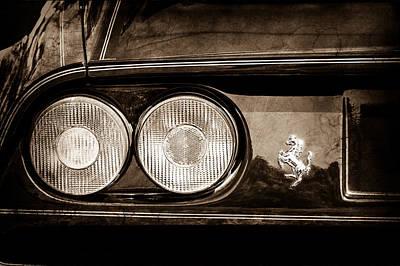 1969 Photograph - 1989 Ferrari 328gtb Taillight Emblem by Jill Reger