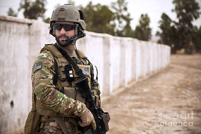 Afghan National Army Photograph - A Coalition Force Member Maintains by Stocktrek Images