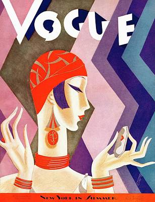 Headgear Photograph - A Vintage Vogue Magazine Cover Of A Woman by Eduardo Garcia Benito