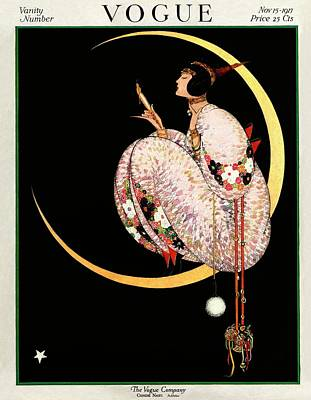 A Vintage Vogue Magazine Cover Of A Woman Art Print