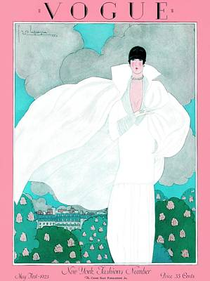 Fashion Photograph - A Vintage Vogue Magazine Cover Of A Woman by Georges Lepape