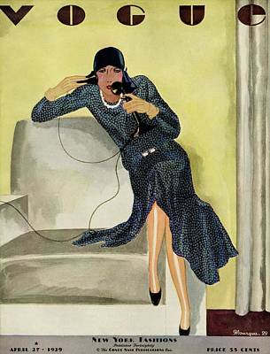 Armchair Photograph - A Vintage Vogue Magazine Cover Of A Woman by Pierre Mourgue