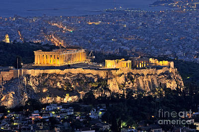 European Photograph - Acropolis Of Athens During Dusk Time by George Atsametakis
