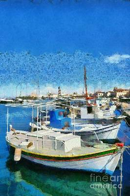 Fishing Painting - Aegina Port by George Atsametakis