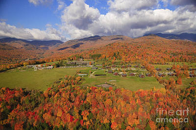 Photograph - Aerial View Of Fall Foliage In Stowe Vermont by Don Landwehrle