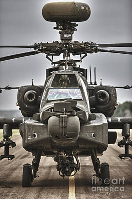 Ah-64 Apache Helicopter On The Runway Art Print by Terry Moore