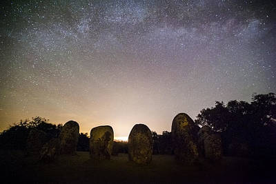 Megalith Photograph - Airglow During A Starry Night In The Almendres Cromlech by Andre Goncalves