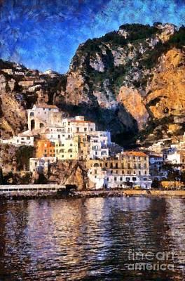 Painting - Amalfi Town In Italy by George Atsametakis