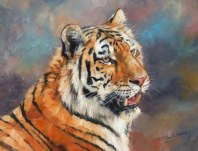 Amur Tiger Portrait Original by David Stribbling
