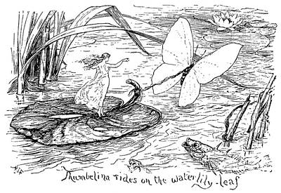Lily Pad Pond Drawing - Andersen Thumbelina by Granger