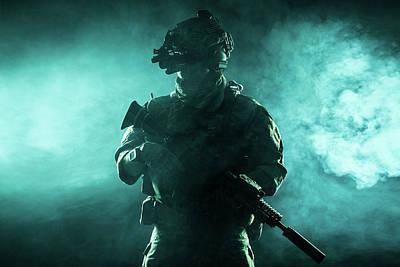 Photograph - Army Soldier In Combat Uniform by Oleg Zabielin
