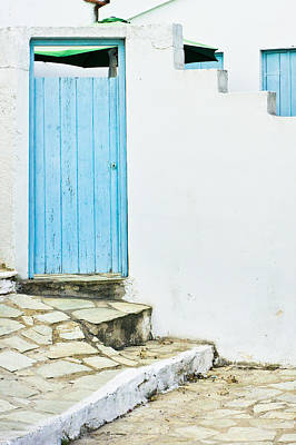 Hellas Photograph - Blue Door by Tom Gowanlock