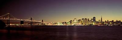 Bridge Across A Bay With City Skyline Art Print