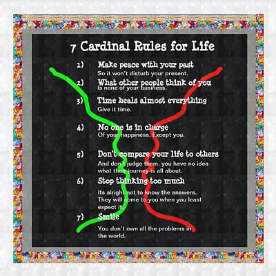 Painting - 7 Cardinal Rules Of Life  Wisdom Words Spirituality Peace Healing Love Brotherhood Attitude Characte by Navin Joshi